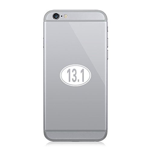 (RDW Pair of Oval 13.1 Cell Phone Stickers Mobile Half Marathon 13 Miles - White)