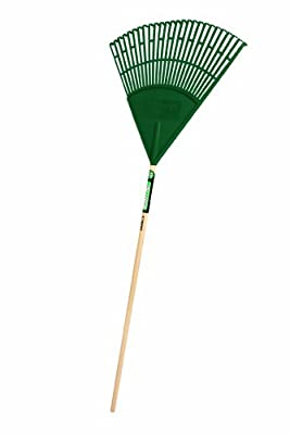 Truper 30458 Tru Tough 48-Inch Plastic Leaf Rake, 22-Inch Head, Wood Handle