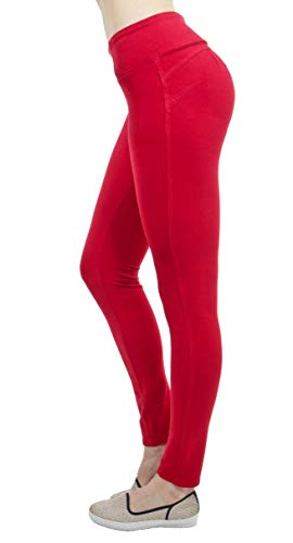 Shaping Pull On Butt Lift Push Up Yoga Pants Stretch French Terry Skinny Jeans in Red Size M