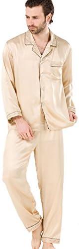 パジャマ メンズ シルク 紳士用 ブランド シルク100% 男性用 敬老の日プレゼント ベージュゴールド 刺繍&パイピング