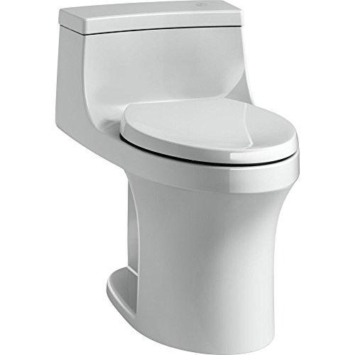 KOHLER K-4000-95 San Souci Touchless Comfort Height 1.28 GPF Elongated Toilet with AquaPiston Flushing Technology, Ice Grey, 1-Piece ()