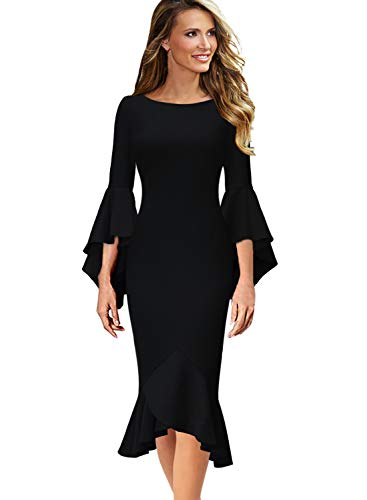 VFSHOW Womens Ruffle Bell Sleeve Cocktail Party Mermaid Midi Mid-Calf Dress 1700 BLK S