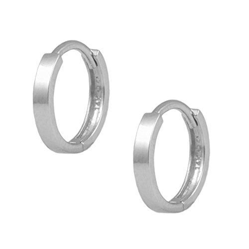 14k Gold Flat Edge (14K White Gold Flat Edge Plain Huggie Hoop Earrings For Children)