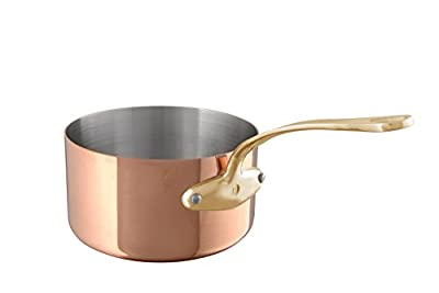 Mauviel 6801.21 M'Heritage 250B 2.5 mm 3.6 quart 20 cm Copper Saucepan & Lid, Bronze Handle