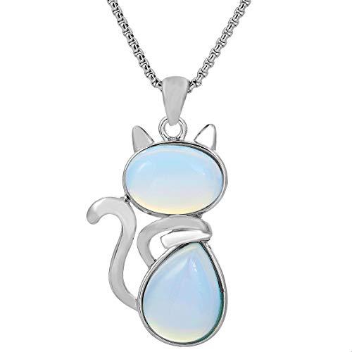 TUMBEELLUWA Stone Pendant Cat Healing Crystal Necklace Animal Energy Chakra Amulet Handmade Jewelry for Women,Opalite
