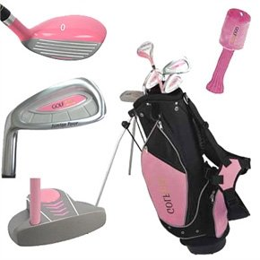Golf Girl LEFTY Junior Club Set for Kids Ages 8-12 w/Pink Stand Bag from Golf Outlets of America, Inc.