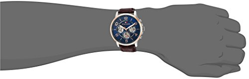 Tommy Hilfiger Men's Quartz Stainless Steel and Leather Casual Watch, Color: Brown (Model: 1791290)