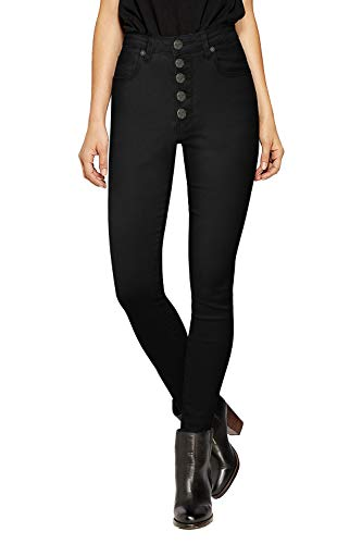 HyBrid & Company Womens Super Stretch 5 Button Hi-Waist Skinny Jeans BlackTwill 14
