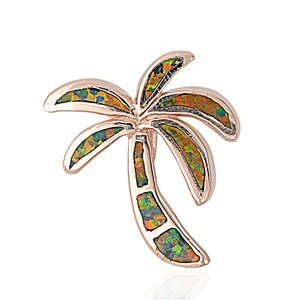 (ROSE GOLD Plated Sterling Silver Black Lab Created Opal Palm Tree Pendant 16