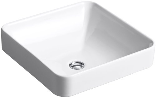 - Kohler 2661-0 Vitreous china Above counter Square Bathroom Sink, 23.625 x 23.625 x 9.25 inches, White