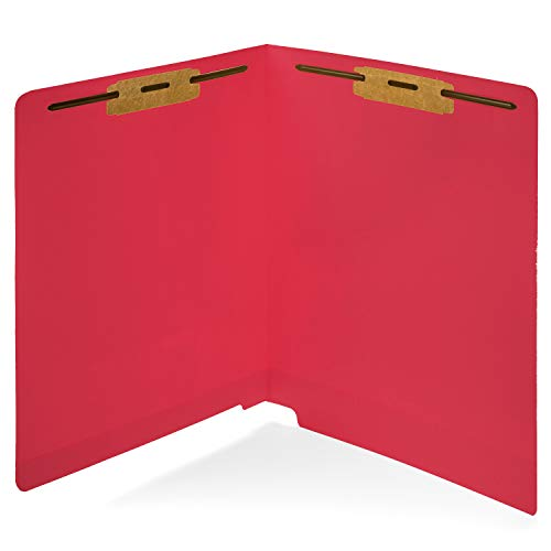 50 Red End Tab Fastener File Folders- Reinforced Straight Cut Tab- Durable 2 Prongs Designed to Organize Standard Medical Files, Receipts, Office Reports, and More - Letter Size, Red, 50 -