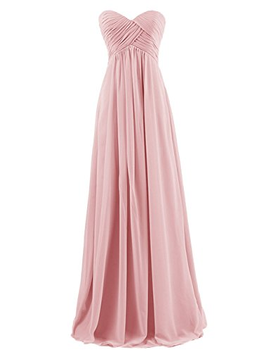 desmaid Chiffon Prom Dress Long Evening Gown Blush L (Chiffon Prom Evening Gown)