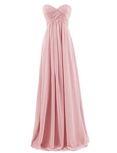 Wedding Evening Prom Gown (BISLU Sweetheart Bridesmaid Chiffon Prom Dress Long Evening Gown Blush 2XL)