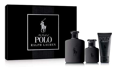 Ralph Lauren Polo Double Black 3 Pieces Gift Set Men 4.2 oz Edt Spray + 1.36 oz Edt Spray + 1.7 oz After Shave Tube