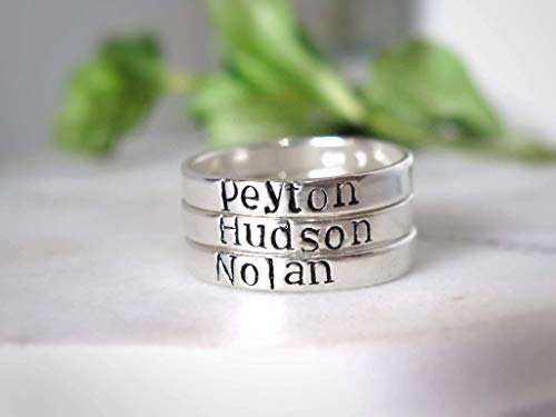 Sterling Silver Name Rings Personalized Sterling Silver Stacking Rings - SET OF 3 - Hand Stamped Name ()