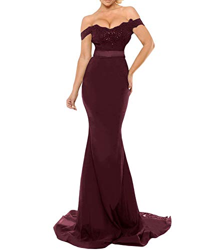Off The Shoulder Lace Mermaid Prom Party Gowns Long Bridesmaid Dresses (US10, Burgundy) (Slim Prom Gown)