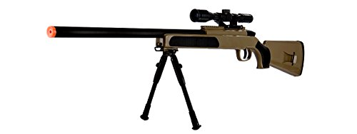 415 FPS Spring Powered Bolt Action Airsoft Sniper Rifle w/BiPod & Scope(Tan) by UKArms