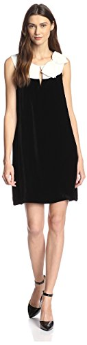 JB by Julie Brown Women's Skylar Velvet Shift Dress with Bow, Black Ivory, L