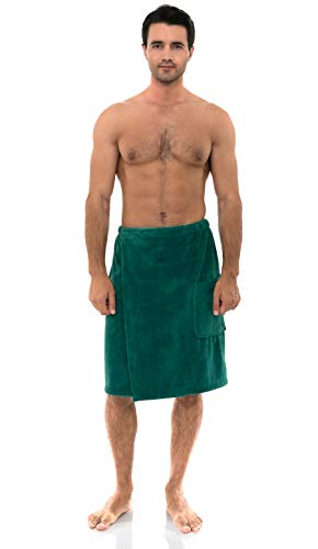 TowelSelections Men's Wrap, Shower & Bath, Water Absorbent Cotton Lined Fleece Medium/Large Green Lake
