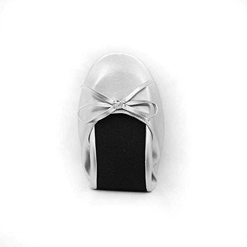 Foldable Portable Silver Outsole Flat Ballet Flexable Womens up MR Gift SWEETIE Wedding Roll Shoes aOxIXf