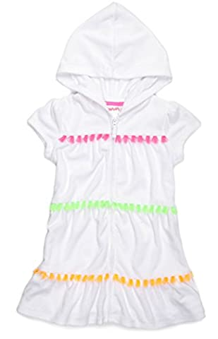 Flapdoodles Girls Hooded Terry Cover-Up, White (6X) - White Terry Hooded Cover Up