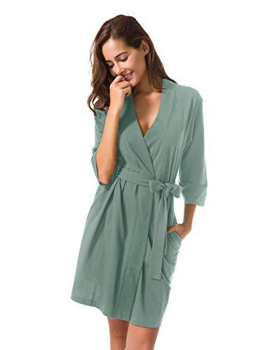 Cotton Robes Size Plus - SIORO Women's Kimono Robes Cotton Lightweight Bath Robe Plus Size Knit Bathrobe Soft Sleepwear V-Neck Ladies Nightwear,Green Mist XXL