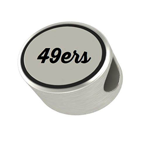 49ers Oval Bead Charm Universal European Slide On Charm - Classic & Original Style Perfect for Bracelets, Necklaces, DIY Jewelry