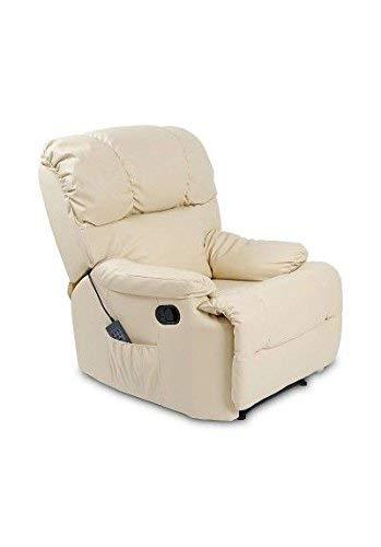 Cecotec Fauteuil de Relax et Massage Beige. Fonction Chaleur, 10 Modes, 10 intensités, 8 Moteurs, Commande avec minuterie, Poche latérale, Similicuir