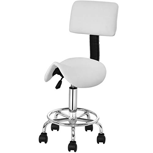 GJH One Adjustable Saddle Salon Stool Rolling Massage Chair Tattoo Facial Spa w/Backrest White