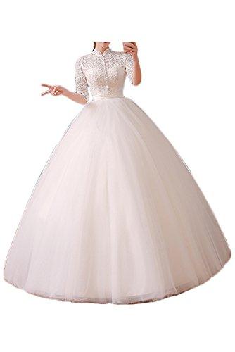 Gorgeous Bride Romantisch Lang Ärmel Rückenfrei 2017 Rundkragen A-Linie Satin Tüll Spitze Schleppe Lang Brautkleider Weiß Hochzeitskleider