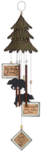 Sunset Vista Design Studios Lodge Collection Metal Wind Chime, Bear Tree
