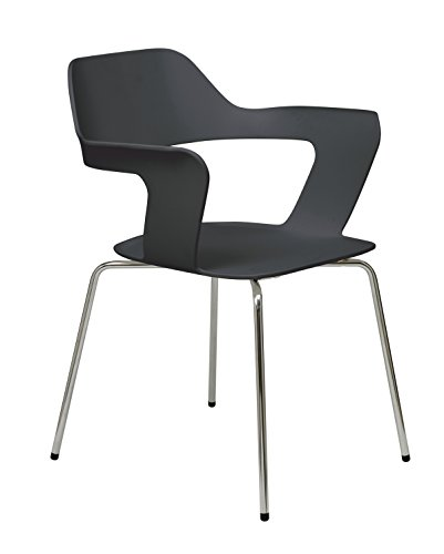 KFI Seating 2500CH Julep Series Stack Chair with Flex Poly Shell, Black ()