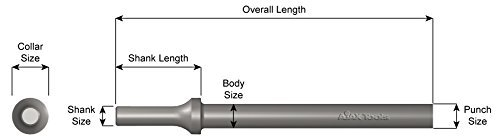 (Ajax Tools 913 Straight Punch Chisel, 6-1/2 in Length, .401 Turn Type Shank)