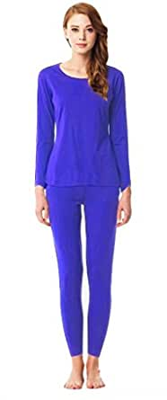 Women's 2 Pieces Fleece Lining Pajamas Set, Royal Blue, Medium