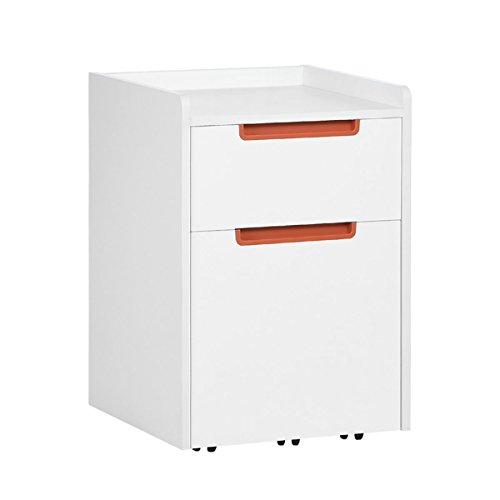 2 Drawer Nylon File Cabinet - DEVAISE 2-Drawer Wood Mobile File Cabinet with Wheels, Letter Size / A4, White & Orange