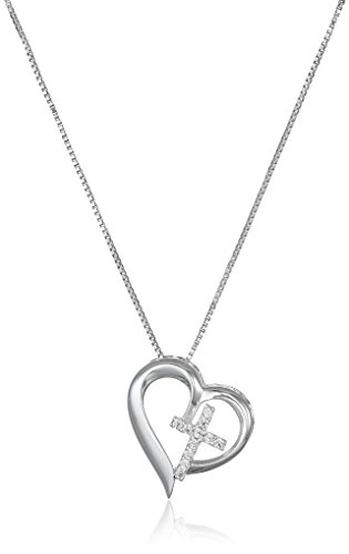 Sterling Silver Open Heart with Cubic Zirconia Cross