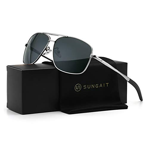 SUNGAIT Men's Polarized Sunglasses Durable Metal Frame for Fishing Driving Golf (Silver Frame/Grey Lens) Metal Frame 0925 ()