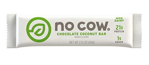 No Cow Protein Bar, Chocolate Coconut, 21g Plant Based Protein, Low Sugar, Dairy Free, Gluten Free, Vegan, High Fiber, Non-GMO, Kosher 12 Count