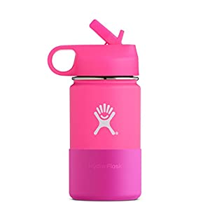 Hydro Flask 12 oz Kids Sippy Double Wall Vacuum Insulated Stainless Steel Sports Water Bottle, Wide Mouth with BPA Free Straw Lid and Silicone Boot, Flamingo