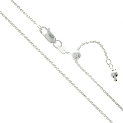 Sterling Silver Adjustable Diamond-Cut Rope Chain 1.1mm Solid 925 Italy New Necklace 22