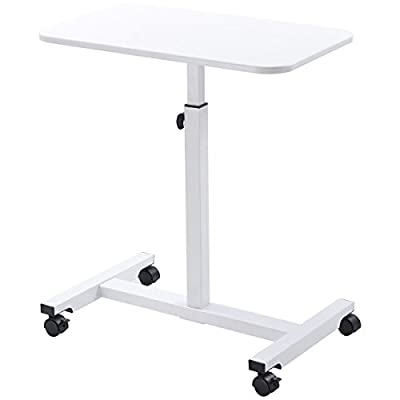 White Height Adjustable Over Bed Stand Rolling Laptop Notebook Multifunction Multipurpose Bedside Desk Mobile Cart Computer Workstation Study Writing Drawing Food Serving Medical Tray Table