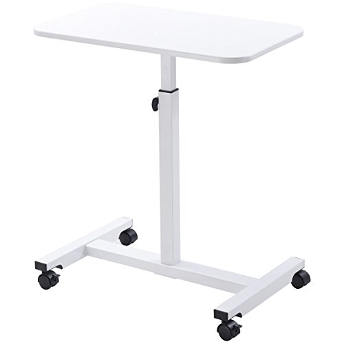 White Height Adjustable Over Bed Stand Rolling Laptop Notebook Multifunction Multipurpose Bedside Desk Mobile Cart Computer Workstation Study Writing Drawing Food Serving Medical Tray Table by HPW