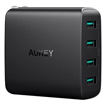 AUKEY USB Wall Charger with 4-Ports 40W/8A Output & Foldable Plug for iPhone X / 8 / Plus, Samsung Galaxy Note8, iPad Pro / Air 2 / Mini 4 and More