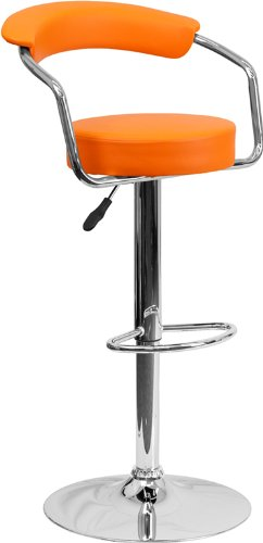 Contemporary Orange Vinyl Adjustable Height Barstool with Arms and Chrome Base by Belnick