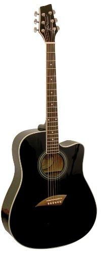 Acoustic Design Series Dreadnought Guitar - Kona K1BK Acoustic Dreadnought Cutaway Guitar in Black High Gloss Finish