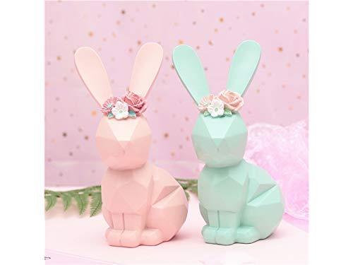 JINGB Garden Resin Rabbit Micro Landscape Garden Ornaments Flower Pot Decoration Home Decor (Blue)