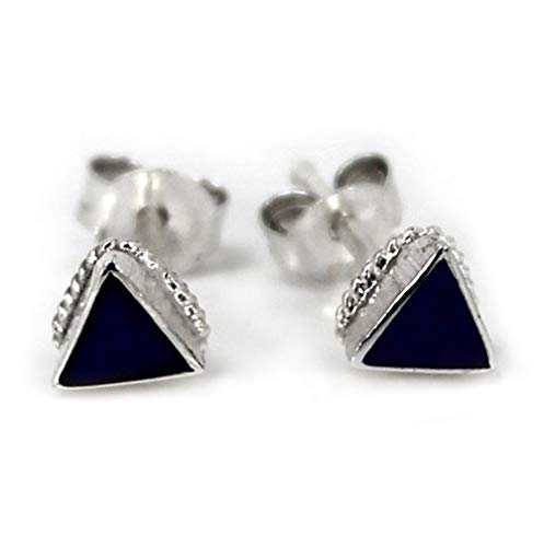 Sterling Silver Triangle Stone Inlay Rope Design