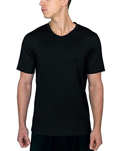 Woolx Men's Ashton V Neck Merino Wool Undershirt Wicks Away Moisture & Regulates Body Temp, Black, XX-Large Color Block Merino Wool