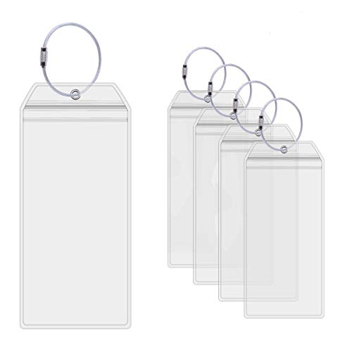 Luggage Tag Holders - Cruise Tags Holders for Luggage E-Tags Waterproof With Resealable Zipper & Steel Loops (5Packs)