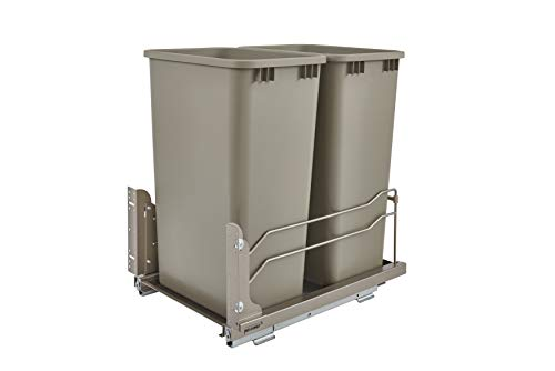 Rev-A-Shelf - 53WC-2150SCDM-212 - Double50 Qt. Pull-Out Champagne Waste Container with Soft-Close Slides (Champagne Can In A)